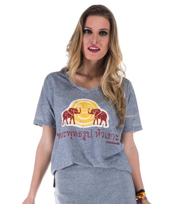 T-SHIRT FEM JOSS PRETO NATURE RED ELEPHANT