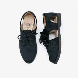 Black Velvet Cutout Oxford