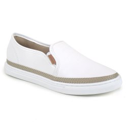 Tenis Flats&Co Slip On Juta Branco