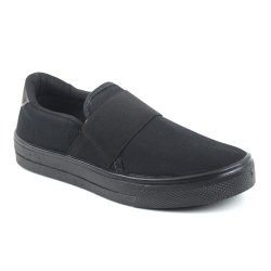 Tenis Slip On Tag Shoes Lona Elástico All Black