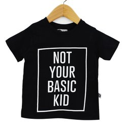 Camiseta Infantil Unissex Not Your Basic Kid Fundo Preto