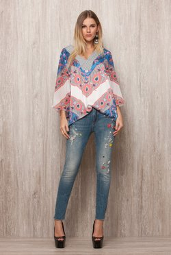 Calca Jeans Bordada Flores