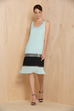 Vestido Mint & Black Bordado