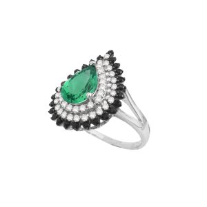 Imagem do produto Anel Diamant Cravejado de Zircônias com Cristal Esmeralda Prata  925 7d04c188b8