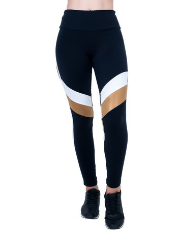 Legging Black Gold White Supplex
