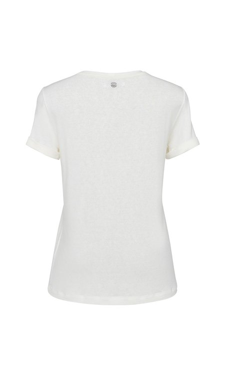 T-SHIRT GOLA CARECA LINHO - OFF-WHITE