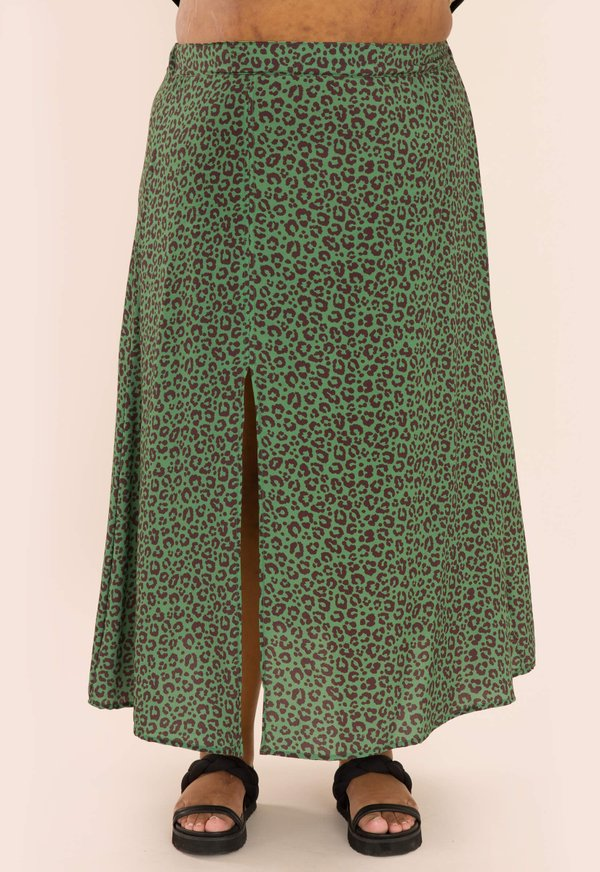 Foto do produto SAIA MIDI ALICE ANIMAL PRINT VERDE MILITAR