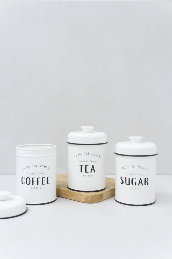 Conjunto de Latas Coffee Tea Sugar