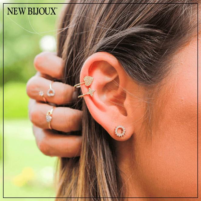 Brinco Ear Cuff Coração Folheado a Ouro 18k com Zircônias - New Bijoux 047d3c6e3e