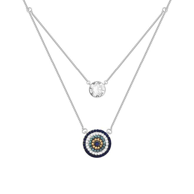 869b6a90632bf Colar Duplo Mandala e Ponto de Luz Prata 925 - New Bijoux