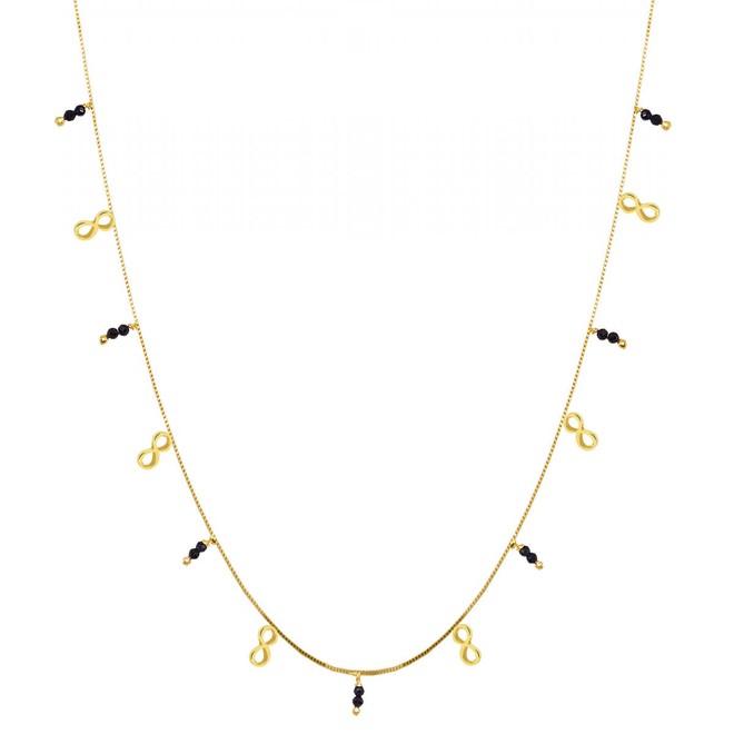 Colar Pingentes Símbolo Infinito com Bolinhas de Zircônia Preta Folheado a  Ouro 18k d35ae3b269