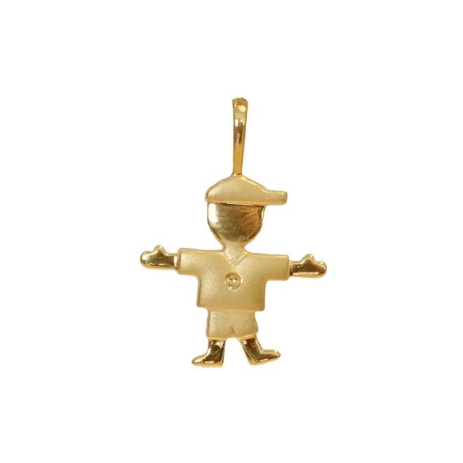58c2b476b3f8c Pingente em Ouro 18K Menino Fosco e Polido New Gold - New Bijoux