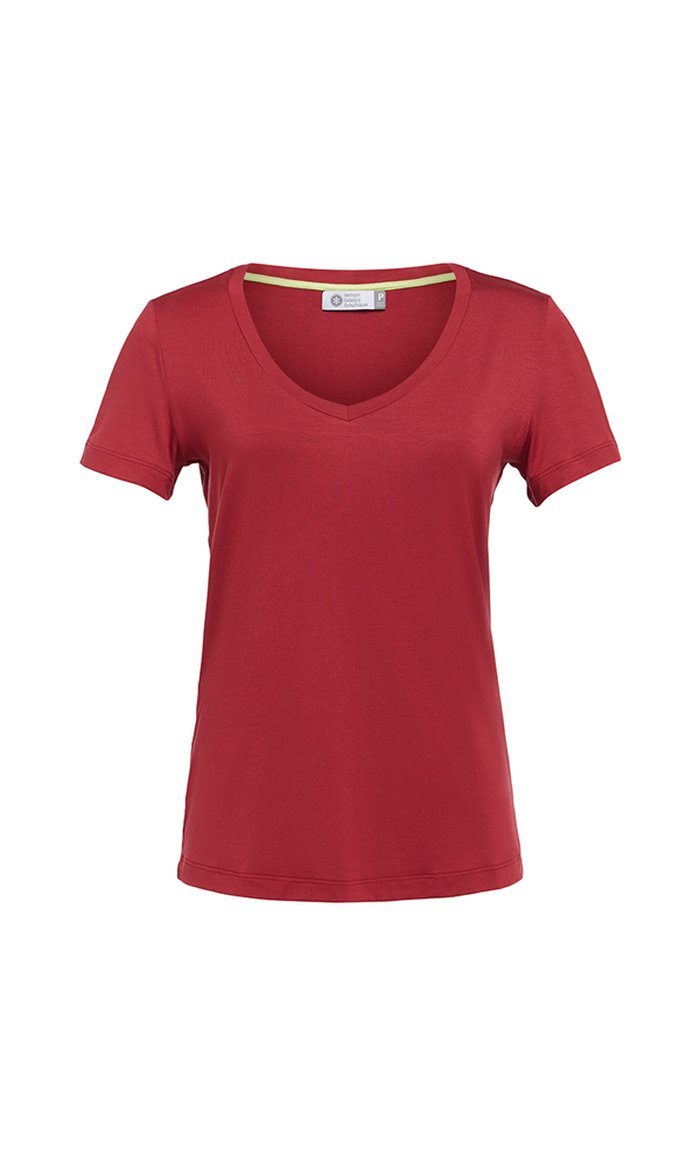 T-SHIRT GOLA V MODAL - RED PEAR