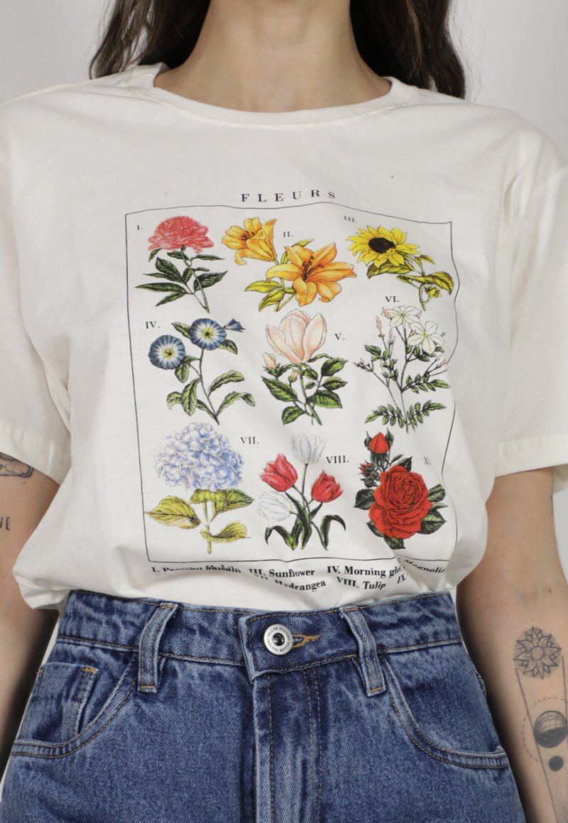 FLEURS t-shirt - off white (unissex)