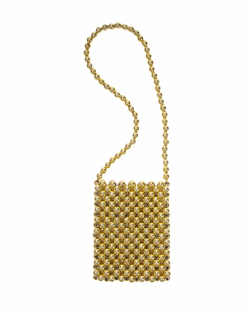 Bolsa Arya Mini Sri Beaded Dourada