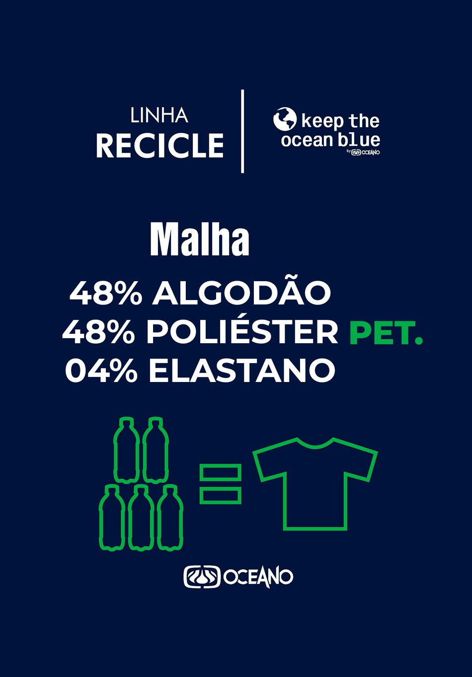 CAMISETA OCEANO ECO PRESERVE KEEP RECICLE