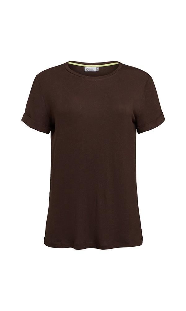 T-Shirt Gola Careca Linho - Marrom