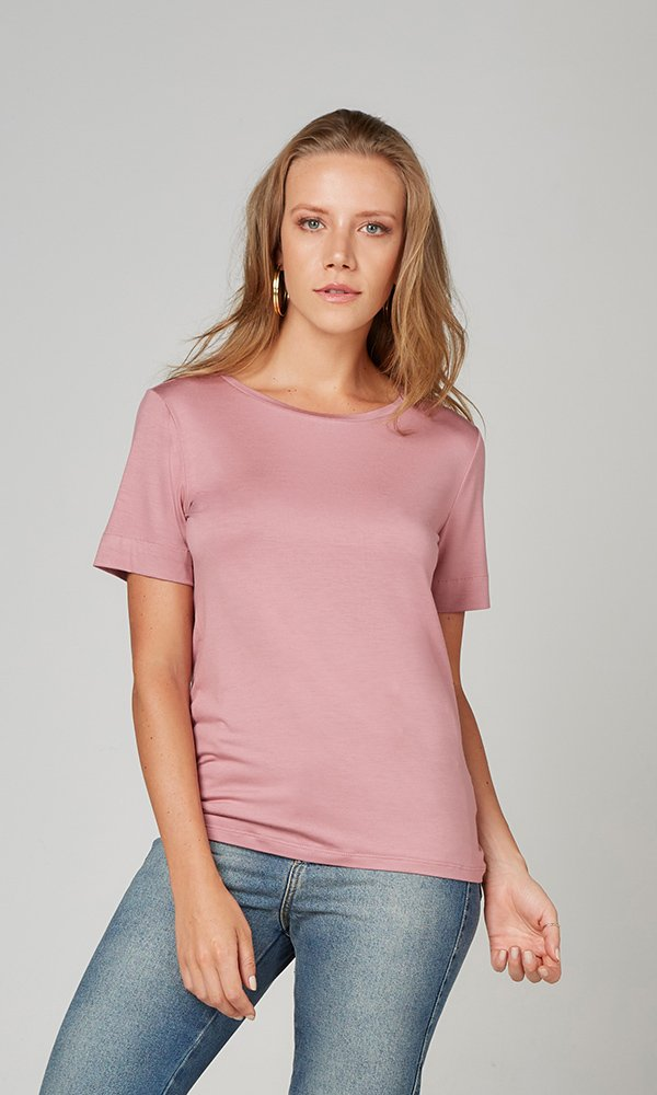 T-Shirt Gola Careca Modal - Rosa Matte