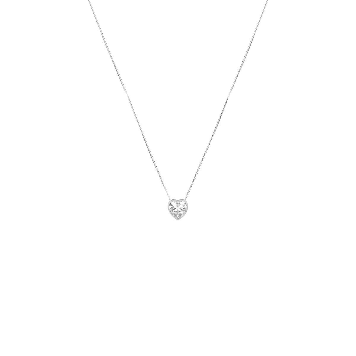 4d468be655a Colar com Pingente Coração de Zircônia Prata 925 - New Bijoux