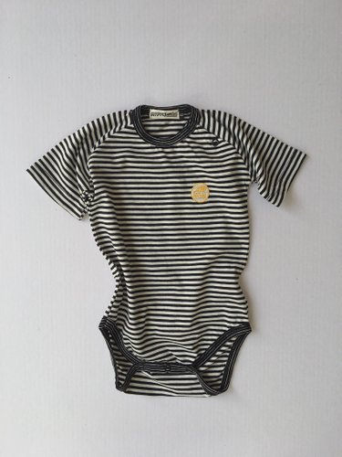 Body Listrado Curto MFM - Preto MIni